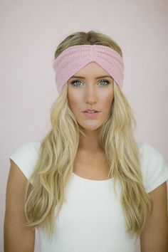 Pink Thermal Knit Headband - Ruched Slip on Ear Warmers in Knitted Stretchy Thermal Women's Fashion Hair Accessories on Etsy, $18.00