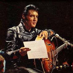 Elvis sit down shows live on June 27, 1968; Elvis reading what He is supposed to talk about on Comeback Special.