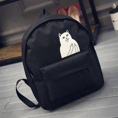Backpack For Teenagers Girls Designer Harajuku Cat Anime Canvas Black Waterproof School Boys Brand Mochilas Women Laptop Bag