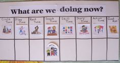 Another visual schedule. I like the horizontal layout and the way the child can move his character through the day.