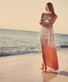 Dreaming of relaxing in the morning sunshine on a beach like this (& in this gorgeous dress ;) ... just beautiful