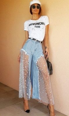 Boho Superstar Blue Denim Sheer Mesh Star Pattern Wide Leg Jeans Loose Pants – Sold Out Love the mesh skirt Bold Fashion, Denim Fashion, Fashion Design, Fashion Trends, Fashion Pants, Fashion Quiz, Disco Fashion, Star Fashion, Unique Fashion