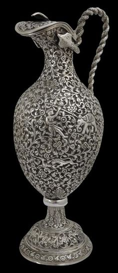 Large Chased Silver Claret Jug, Kutch, India