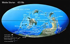 "#Silurian #Earth    Continents Begin to Collide as Paleozoic Oceans Close. Laurentia collides with Baltica closing the northen branch of the Iapetus Ocean and forming the ""Old Red Sandstone"" continent.  Coral reefs expand and land plants begin to colonize the barren continents."