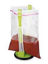 Baggy Rack   Solutions : Like having an extra pair of hands...no spilling!Transfer food to a plastic bag without doing a juggling act. Rack holds the bag open so you can pour or fill using both hands