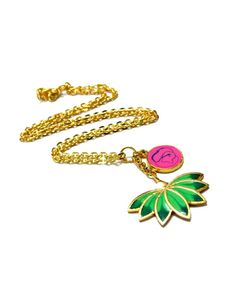 The Green and Pink Enamel Lotus Charm Necklace by JewelMint.com, $59.98