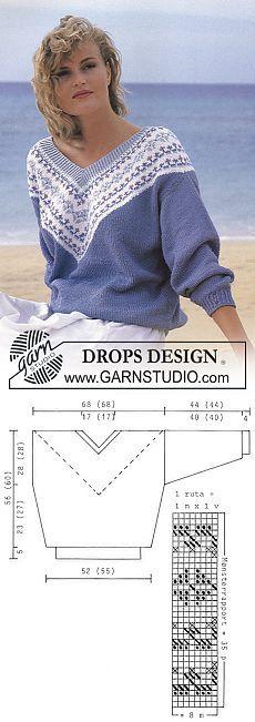 "DROPS jumper with flower pattern border on V-neck in ""Muskat"". ~ DROPS Design"