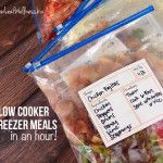 Seven slow cooker freezer meals in an hour