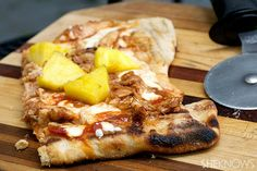 Grilled pineapple and BBQ chicken pizza enjoy on game day with a glass of Sutter Home Sweet Red
