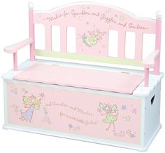 Your girl will be delighted to have this beautiful Fairy Wishes Toy Box and Bench!Beautifully handcrafted and hand-decorated wooden toy box with bench.Colored in pretty pink with pale green and white accents.Slow-closing metal safety hinge prevent finger