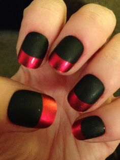 Red and matte black nails
