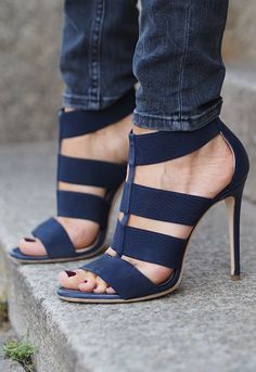 Deimille blue heels for women. Trendy shoes.