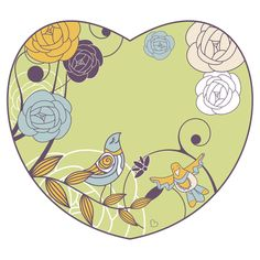 Clip Art of a Heart with Flowers and a Bird