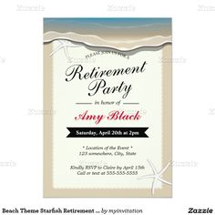 Beach Theme Starfish Retirement Party Invitation