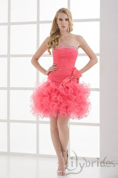 A-line Strapless Stretch Satin Organza Short/Mini Length Bowknot Magenta Homecoming Dress