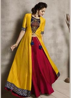 indian designer wear Delectable Embroidered Maroon and Yellow Party Wear Kurti Lehenga Choli Designs, Kurta Designs, Kurti Designs Party Wear, Dress Designs, Indian Fashion Dresses, Indian Gowns Dresses, Dress Indian Style, Pakistani Dresses, Dresses Dresses