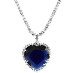 Fancy Blue Heart Cubic Zirconia Necklace ($180) ❤ liked on Polyvore featuring jewelry, necklaces, white, blue pendant necklace, chain necklaces, long pendant necklace, heart pendant and heart chain necklace