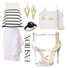 """Untitled #921"" by giselaturca on Polyvore featuring Cardigan, Moschino, Giuseppe Zanotti, Versace and Pomellato"