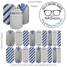Eagles School Prefect inspired~ Get the Look without the polish! Contact me @ Kelly GB/The NAS Nerd on Facebook or email me bluegodiva@gmail.com if interested in designing/ordering a custom nail art studio sheet (NAS) of your own . Curious about Jamberry's 350+ ready-to-go catalog wrap designs, lacquer or gel enamels? Head to kellybaker.jamberry.com ~ DIY nail art, Ravenclaw House, Potter, uniform, wizard, witch, lions, eagles, badgers, snakes, prefect, Hogwarts, cosplay, more designs…