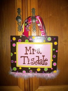 Teacher Gift -Hand painted on 8x10 canvas with ribbons and marabou  $25- Can be made in any color combo you would like   ©2011Hairbows*N*More