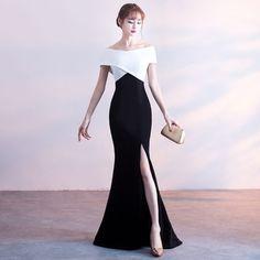 Sexy Evening Dresses  2018 Trumpet / Mermaid Backless Off-The-Shoulder Short Sleeve Floor-Length / Long Formal Dresses