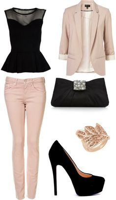 white jeans and black accessories