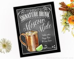 Wedding Decoration Sign 8 x 10 Signature Drink Sign   Moscow Mule Cocktail Sign (MUG) Unframed, Laser Printed Art on Card Stock  AS IT IS The base price of this listing is for the sign pictured in the first image (PIC #1) of this listing, as it is, with NO CHANGES to the header, text or illustration. (You may select a border from the choices shown in PIC #5.)  UPGRADE & PERSONALIZE IT Go beyond changing only the border & purchase the upgrade which allows you to personalize any or all of the…