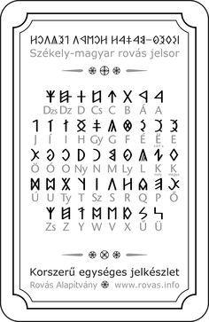 Ancient Hungarian alphabet - before medieval times Alphabet Code, Runic Alphabet, Popular Art, Arte Popular, Runic Writing, Bullet Journal Diy, Rune Tattoo, Hungary Travel, Color Meanings