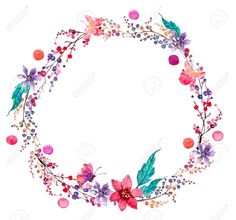 flower wreath: Watercolor flower wreath background for beautiful design