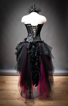 Size medium hot pink and black Feather Burlesque Corset Witch costume with Hat Ready to Ship. $499.00, via Etsy.