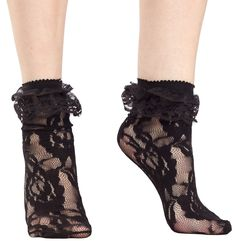 LOLITA LACE ANKLE SOCKS BLK Bring out your inner Lolita with a pair of lacy black socks to complete that look. These lace socks pair perfectly with Mary Jane heels and your little mini dresses.  One Size 90-160 lbs 100% Nylon  $5
