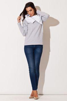 Ciepła bluza damska z kontrastowym kołnierzem Lingerie, Hoodies, Sweatshirts, High Fashion, Model, Sweaters, Products, Haute Couture, Woman