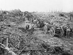 Inch Print (other products available) - A convoy of British ammunition carts passes through the devastated remains of the village of Longueval, in the heart of the Somme region - Image supplied by Mary Evans Prints Online - print made in the UK