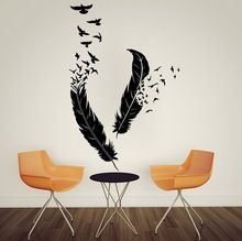 free shipping Abstract Feathers Flying Birds Bedroom Vinyl Wall Decal Art Home Decor Wall Sticker  Mural tx-166(China (Mainland))