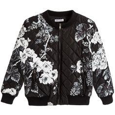 Boys black floral bomber jacket by Dolce & Gabbana. Made in lightweight but thickly padded nylon, the outer fabric has diamond-stitched quilting. The style is zip-up with a logo tab and a leather logo tag is stitched at the back of the neck. The round collar, cuffs and hem are ribbed and elasticated, with two zipped hand pockets, also with logo tabs and it has a silky lining.
