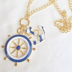 ☀️ Nautical blue & white long necklace ⛔️ Do not purchase this listing. Please request a new listing or bundle for purchase! ⛔️  Awesome summer nautical statement piece!! This anchor and wheel blue/white piece has nice sized charm and a gold chain. Perfect for Fourth of July or any time this summer! Jewelry Necklaces