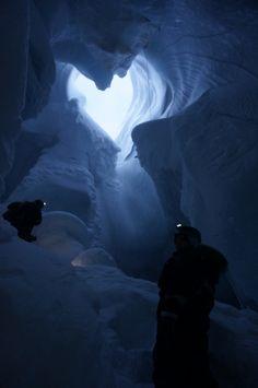 Caving in Scott Turnerbreen, Svalbard (Feb 2014)