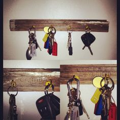 Upcycled key hook from a crate plank and old hooks.