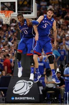 KU win over North Carolina - 2012 NCAA Tournament - Elite Eight. Picture of Withey and Robinson
