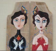 Austera e Godiva - acrilic and collage on wood - 2011