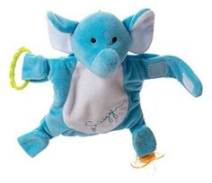 The Snuggin is a stuffed animal that allows you to attach and store pacifiers, keeping them in reach and off the ground.