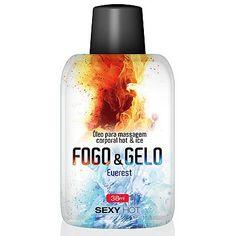 Óleo para massagem beijável FOGO E GELO - Everest Surpreenda com a diferença entre o calor e o frio. Aplique o óleo Everest sobre a pele explorando o corpo. Além de beijável, o óleo esquenta e esfria suavemente a pele, tornando sua massagem muito mais divertida.