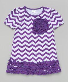 Look what I found on #zulily! Purple & White Zigzag Ruffle Rosette Dress - Toddler & Girls #zulilyfinds