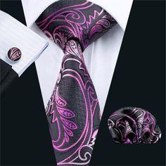 FA-564 Gents Necktie Purple Paisley 100% Silk Jacquard Tie Hanky Cufflinks Set Business Wedding Party Ties For Men Free Shipping