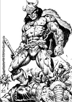 A fifty-page Savage Sword Of Conan issue, pencilled and inked, inking the regular Conan the barbarian mag, creating several pin-ups and maybe a King Conan as well, and he made it all seem easy. Marvel Comics, Conan Comics, Comic Book Artists, Comic Books Art, Comic Art, Fantasy Anime, Fantasy Comics, Conan The Barbarian Comic, Conan The Destroyer