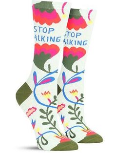 What a lovely, flowery, pretty pair of socks! Oh wait ... Well, you shut us up. Perfect for those moments when you need to send someone a not-so-subtle message in a subtle way, these fun and colorful