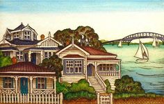 Mary Taylor Houses and Harbour etching art print NZ