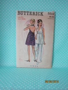 Vintage Halter Dress Pattern. Butterick 5512. 1969. Size 10 B:32.5. One Piece Dress & Pants. Cheap Vintage Pattern. Cheap Shipping by FashionSew on Etsy