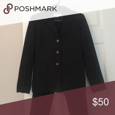 Calvin Klein 2 piece pant suit, size 8P Beautiful black pin striped suit with a three button blazer. Both pieces are fully lined. Never worn with tags still attached Calvin Klein Other