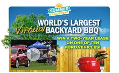 Ford is organizing the Summer Sales Event Giveaway called World's Largest Virtual BackYard BBQ and is giving away the chance to win a two-year lease on one of ten ford cars!